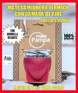 "NOVEDAD ! MATE"" PAMPA"" CAMIONERO ARGENTINO con BOMBILLA RESORTE!"