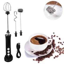 Batidor Eléctrico Recargable 3 Velocidades Para Cappuccino Café Chocolate