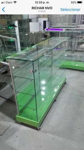 Vitrinas de.lujo en solo vidrio cristal a los.preciosmas bajos de Colombia