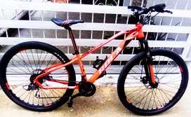 Bicicleta 29 en acero liviano cambios incorporados grupo shimano rines de lujo pirámides frenos de disco mecánicos