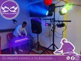 Luces y sonido, DJ, cámara de humo,luz led y música, cabinas