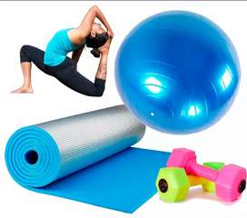 Kit yoga pilates colchoneta +balón +mancuerna de 1 kg segunda mano  El Salitre