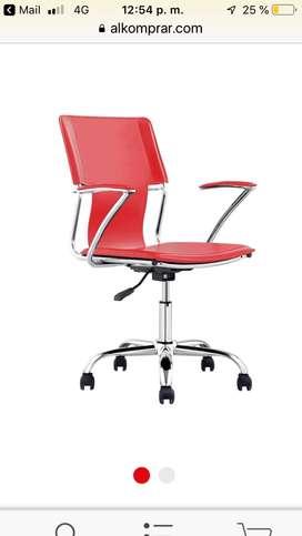 Silla giratoria escritorio roja