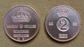 Moneda de 2 öre Suecia 1956