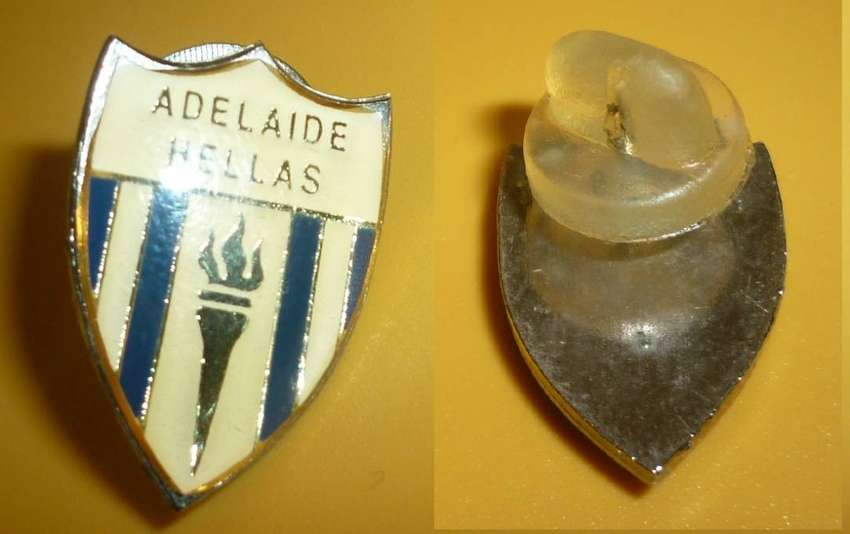 ANTIGUO PIN DISTINTIVO ADELAIDE HELLAS FUTBOL ASUTRALIA 1980s . ACTUAL CLUB WEST ADELAIDE SC 0