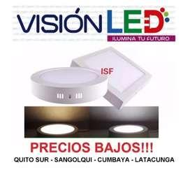 Lámpara Led Panel Sobrepuesto Losa Hormigón 24w 18w 12w 6w