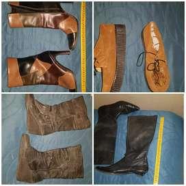 3 pares de botas y 1 de zapato