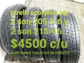 Neumaticos pirelli scorpion atr 205r16 y 215r16