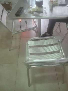 Silla y mesa aluminio