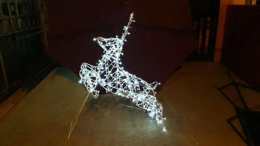 Figura Reno Venado Navidad 3d Luz Led 0