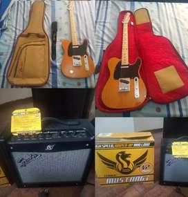 Fender Squier Affinity Telecaster, funda Fender original, amplificador Fender Mustang 1 v2 y correa Fender original