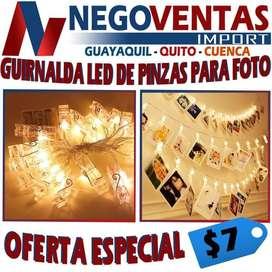 GUIRNALDA LED DE PINZAS PARA FOTOS