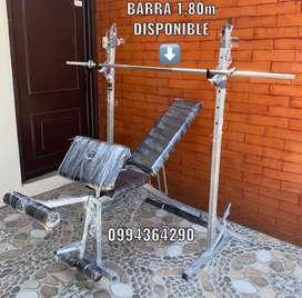 BARRA RECTA 1,80m + 2 seguros en rosca.
