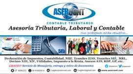 DECLARACION IMPUESTOS IVA, RENTA, ANEXOS, GASTOS PERSONALES, BALANCES CONTRATOS, IESS, ETC
