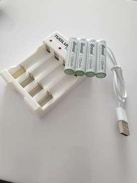 Baterías RECARGABLES AAA 1100 mAh + cargador