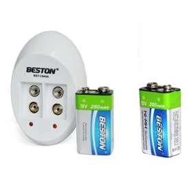 2 Baterias Recargable Cuadrada 9v 250mahcargador Doble Best