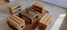 Juego de sala tipo pub artesanal en madera