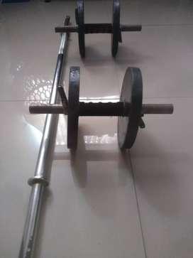 Juego de pesas + Barra 120cm