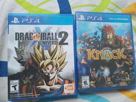 Se venden dos juegos DB xenoverse 2 y knack