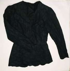 Saco tipo blazer de diseño, color negro, Talla S