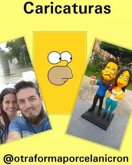 Muñecos figuras caricaturas porcelanicron esculturas 3d novios regalos detalles Simpson cómics personalizados