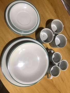 Set de 3 platos playos 3 platis hondos 3 platos de postre 3 platos del juego de tazas de te con sus tazas y 3 tazas de c