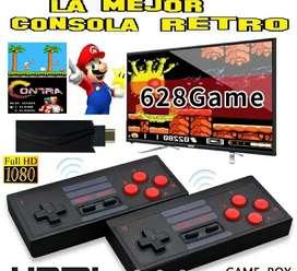 Mini consola de videojuegos tipo HDMI inalámbrica retro 628 juegos, 2 controles