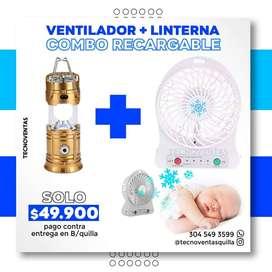 Combo Ventilador recargable + Linterna recargable