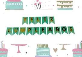 Decorama:Set Banderin Banner Feliz Cumpleaños Feliz Navidad decoración