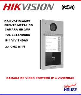 HIKVISION FRENTE DE CALLE  Videoportero Ip Wifi Ds-kv8413-wme1 para 4 Departamentos