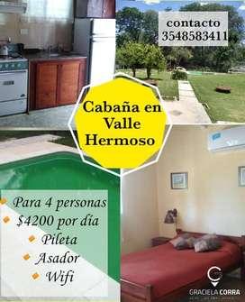 Cabaña en Valle Hermoso hasta 5