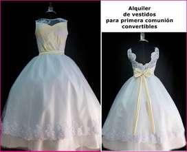 Alquiler de vestido blanco y beige primera comunión de niña