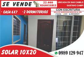 Venta de Casa 10x20 Con Servicios Básicos al dia