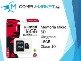 Memoria micro sd kingston 16gb clase 10 nuevo y facturado