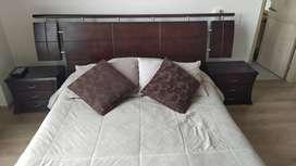 Cama Doble+colchón+dos Mesas De Noche