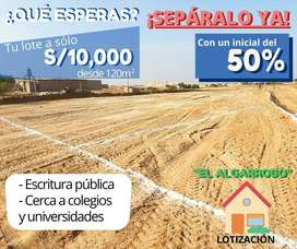 NUEVA LOTIZACION EL ALGARROBO A TAN SOLO 7 MINUTOS DE LA CARRETERA PIMENTEL DE 120 M2 A 10 MIL SOLES