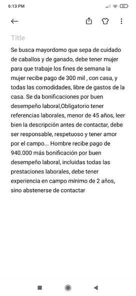 LEER DESCRIPCIÓN, MAYORDOMO PARA FINCA FREDONIA!! LEER DESCRIPCIÓN