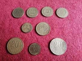 LOTE DE 9 MONEDAS DE REPUBLICA DE COLOMBIA, LOTE POR $24000 o CADA UNA A $3000, MONEDAS DE 5 PESO 1990, 25