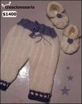 Pantalón tejido antialérgico con zapatos a juego para bebés y niños