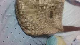 Bolso cartera cuero y tela forrado bolsillo interior con cierre