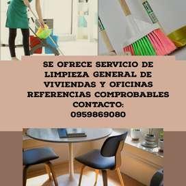 Se ofrece servicio de limpieza para oficinas y viviendas