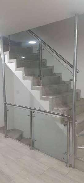 barandas acero y vidrio
