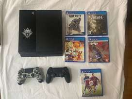 PS4 Fat +  2 Controles + 5 juegos + Cables
