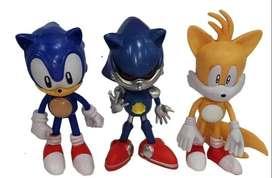 Set X3 Figuras Muñecos Sonic Tails 17cm Juguete Colección