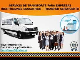 SERVICIO DE TRANSPORTE PARA EMPRESAS  INSTITUCIONES EDUCATIVAS – TRANSFER AEROPUERTO