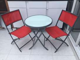 Set balcon: mesa resonda y 2 sillas