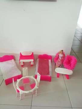 Lote de accesorios para casa de muñecas barbie