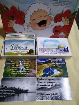 Promesas Biblicas tipo presentación con promesa al respaldo b/n 100 p . 50 tarjetas y caja pequeña a $7000