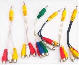 Cable Miniplug 3.5mm Macho Auxiliar A 3 Rca Hembra