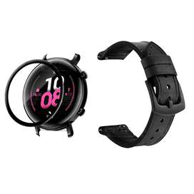 KIT Correa Manilla de cuero leather y Vidrio templado cerámico para Reloj Smartwatch Huawei GT2 42mm